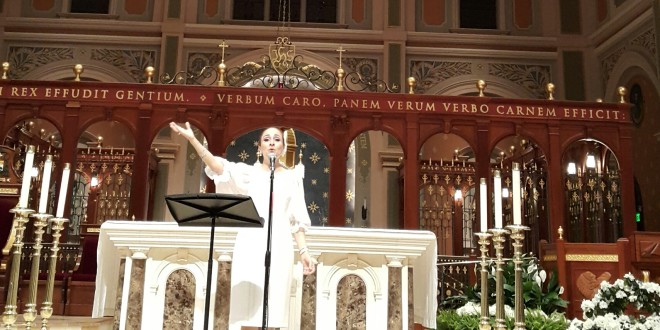 The Lebanese religious singer Joumana Mdawar's concert in California