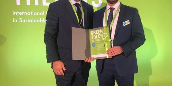 جان الاشقر أول لبناني يفوز بجائزة GREEN TALENTS AWARD في برلين